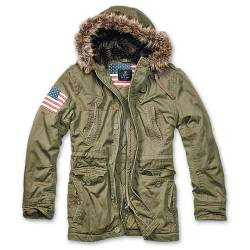 Parka Vintage Explorer Stars and Stripes Olive Brandit